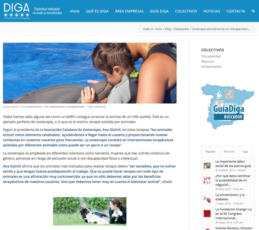 Zooterapia para personas con discapacidad | DIGA